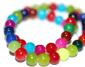 80pc Loose Beads Mixed Colors-Basketball wives inspired Bracelet beads-Glass Beads-Necklace Beads-8mm