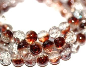 80pc Loose Beads Brown Clear-Basketball wives earrings inspired  Bracelet beads /Necklace beads/Glass Beads/8mm