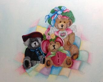 Teddy Bears Sunday Best  Oil Painting 20 x 24 inch gallery canvas