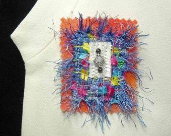 Multi-Color Confetti Fiber Hand Dyed Wool Art Brooch