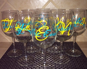 Custom Father Of The Bride Vinyl Wine Glass Decals Bridal - Wine glass custom vinyl stickers