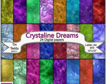 Crystaline Dreams Digital Papers - 24 Crystal Backgrounds for Crafting Projects, Scrapbooking etc Instant Download