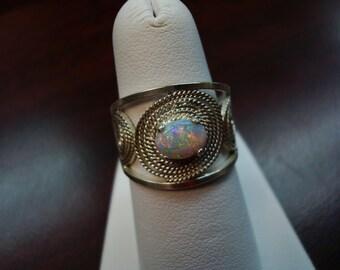 Size 7 Australian Opal Ring, Sterling Silver.