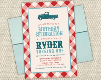 Vintage Truck Boys Birthday Invitation // Picnic // Checker Tablecloth