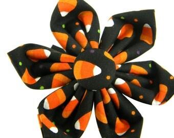 Halloween Dog Collar Flower, Candy Corn Flower Accessory: Candy Corn