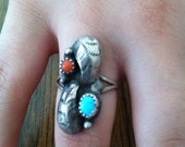Native American silver and turquoise Ring size 5