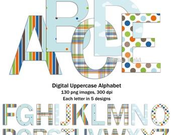 Uppercase alphabet clip art set - blue, green, brown, orange printable digital letters - instant download