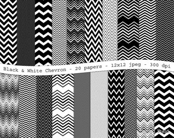 Black and White Chevron digital scrapbooking paper pack -20 printable jpeg papers, 12x12, 300 dpi - instant download
