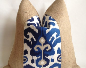 Suburban Home/Duralee Rasul Blue Linen Fabric and Burlap Pillow Cover