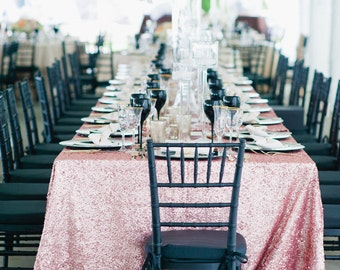 Pink Sequin Tablecloth, Ballerina, Rose Pink, Kate Spade, Sweet 16, Bridal Shower, Princess theme, Sequin Runners, Overlays.