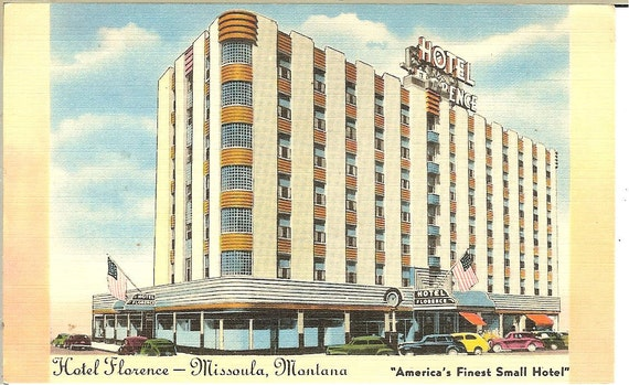 Vintage 1940 39 S Hotel Florence Missoula Montana Postcard