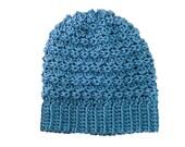 Mens Womens Ripple Slouchy Beanie Hat in Dusty Blue