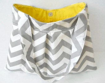 Gray Chevron Purse Handbag Diaper Bag Grey Twill Storm Zig Zag Made to Order