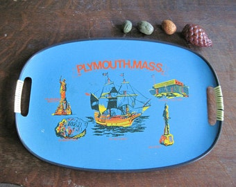 Thanksgiving Tray, Vintage Decorated Wooden Serving Tray, Mayflower Pilgrims