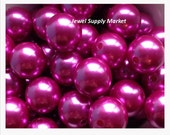 Loose 12pcs-10mm large pearls, magenta, fuchsia, hot pink, Czech pearls, round, bright, opaque, earrings, necklace, beads