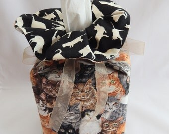 Tissue Box Cover - Cats - in 100% Quality Cotton Fabrics