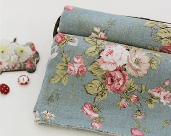 Linen Blend Cotton Linen European Roses - Blue - By the Yard 40780