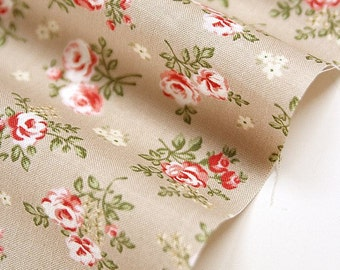 Beige Flower Cotton Fabric - Beige - By the Yard 52739