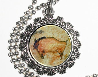 Primitive Buffalo Art Pendant, Cave Drawing Resin Photo Charm Necklace
