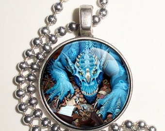 Blue Dragon Altered Art Photo Pendant, Earrings and/or Keychain, Round, Silver and Resin Charm Jewelry