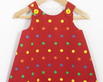 Girl dress - Red spot print Aline dress - Baby girl - Toddler girl dress - size 0-3m, 3-6m, 6-12m, 12-18m, 18-24m, 2T, 3T, 4T, 5T