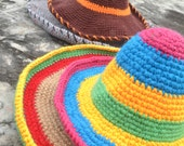 Crochet Mexican hat pattern, sombrero hat pattern, photo prop, 3 sizes - baby, child and adult, Pattern No. 71