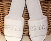 Personalised Slippers Wedding Spa Party Gift Bridesmaid Bride Rhinestone Diamante briodferch brud hen bruid mariee noiva sposa noiva