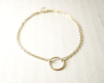 Eternity bracelet - double chain - hammered circle - gold filled or sterling silver