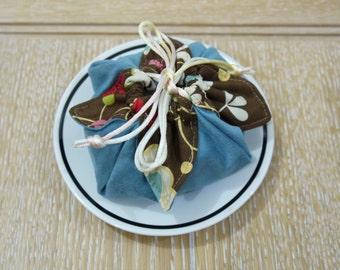 Persimmon fruit style cotton Drawstring bag, gift bag, favor bag
