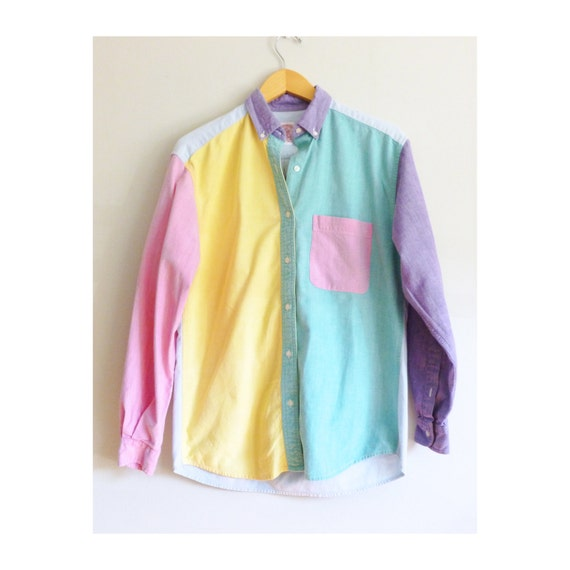 Items similar to vintage shirt color block pastel chambray for Pastel colored men s t shirts