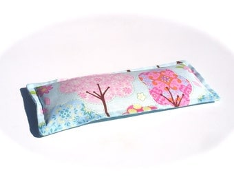 Herbal Eye Pillow, Relaxing Lavender Heat Pack For Eyes, Dreamy Pink trees, Aqua polka Dots
