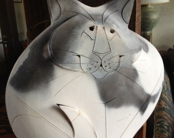 Large Handmade Ceramic Grey & White Cat - Signed by the Artist