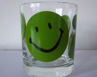 Green Happy Face Glass