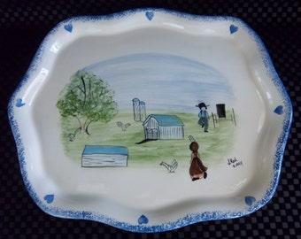 Signed Amish Serving Platter Hand Painted - Vintage Home Kitchen Decor
