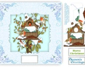 Christmas At The Robin Redbreasts Bird House - 8 x 8 Card Topper With Decoupage