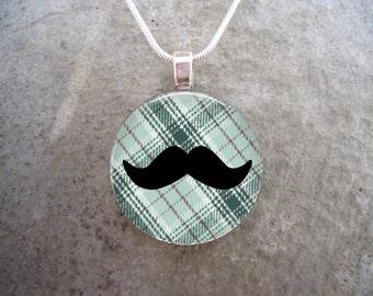 Plaid Mustache Jewelry - Glass Pendant Necklace - Mustache 4