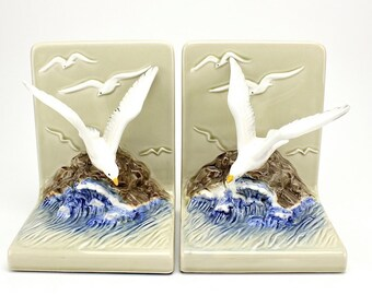 Vintage Seagull Bookends, Ceramic Bookends, Beach, Nautical, Otagiri, Beach Cottage, Seagulls, Coastal Decor, Vintage Bookends, Epsteam