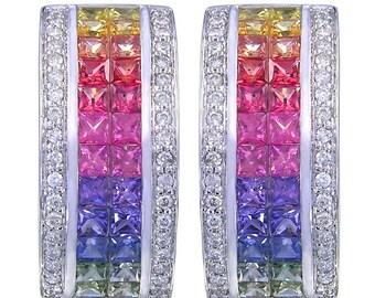 Multicolor Rainbow Sapphire & Diamond Invisible Set Huggie Earrings 14K White Gold (8.75ct tw) SKU: 1534-14K-Wg