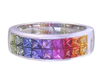 Multicolor Rainbow Sapphire & Diamond Invisible Set Ring 14K White Gold (2.02ct tw) : sku 435-14k-wg