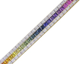 Multicolor Rainbow Sapphire & Diamond Tennis Bracelet 18K Yellow Gold (9.5ct tw) SKU: 411-18K-Yg