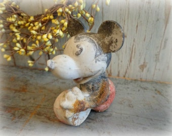 1930's rare mickey mouse figurine / porcelain bisque / disney collectible