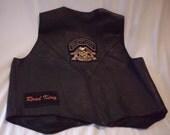 Black Leather Vest Harley Davidson Biker/ Retro /Rocker/Unisex