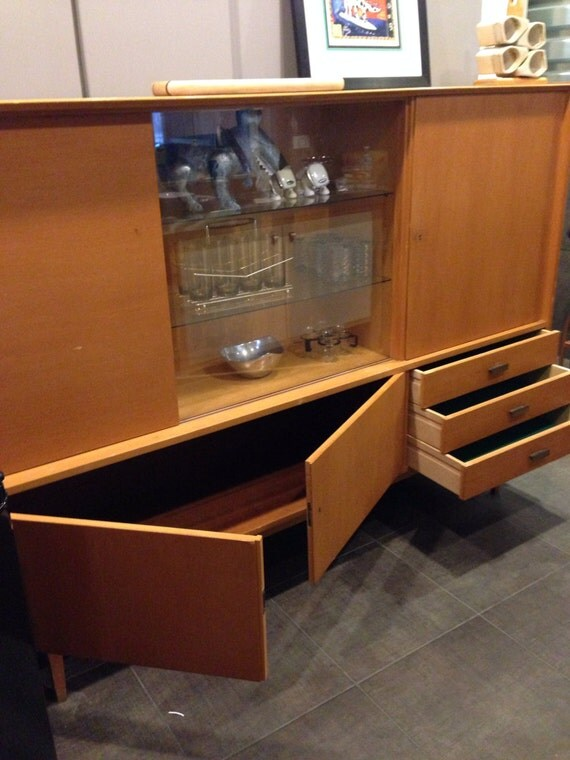 Mid Century German Shrunk Wall Unit Mirrored By