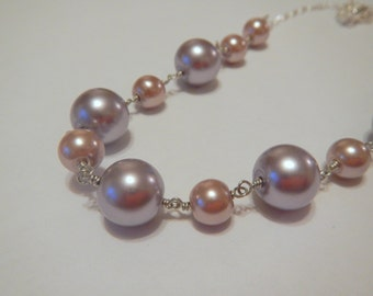 Lavender and Smoky Pink Pearl Necklace in Gold