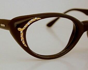 Vintage Frame France Dark Mink Brown Raybert Nylon Cat Eye Eyeglass Frames AB Rhinestones Jeweled Gold Tone Accents SMALLER Possibly New