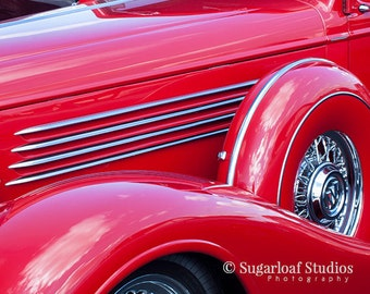 Red Vintage Car Fender -- Fine Art  Photography Print -- Photo, Home Decor, Vintage Car, Automobile, Art