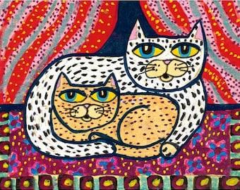 Cat Art, Whimsical Cat Print, Kids Room Art, Cat Print, Cat Decor, Folk Art Cats, Red And Yellow, Snuggle Cats  by Paula DiLeo