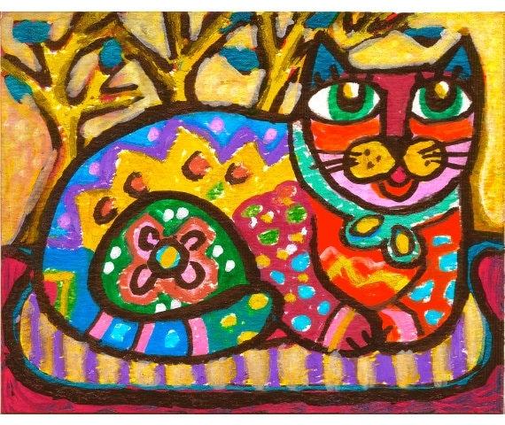 Mexican Wall Art cat art whimsical animal art mexican folk art girls room