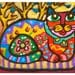 Cat Art, Whimsical Animal Art, Mexican Folk Art, Girls Room Decor, Cat Print, Yellow And Red, Kid's Wall Art, Fiesta Feline  by Paula DiLeo