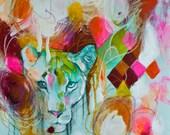 14 x 14 Medium Size Contemporary Modern Abstract Lion Tiger Big Cat Animal Wild Giclée Print Mint Pink Green by Julie Robertson